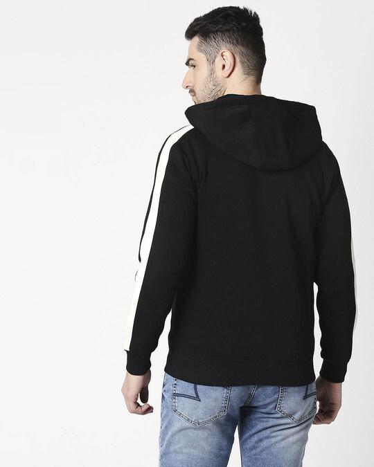 Shop Black - White Sleeve Panel Zipper Hoodie-Back
