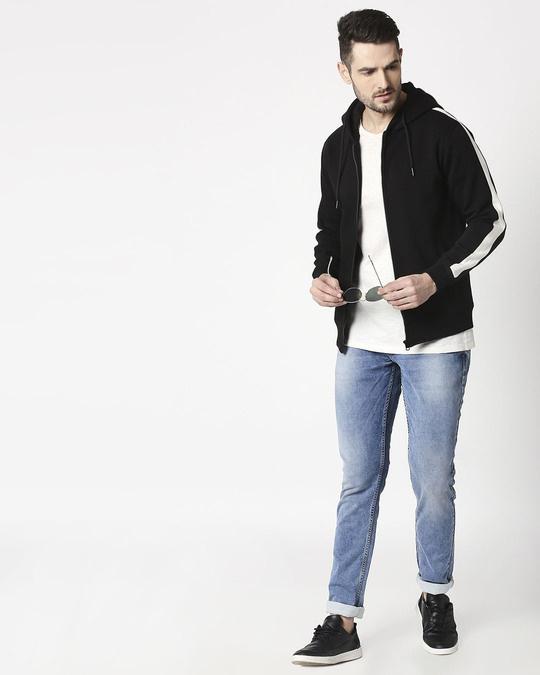 Shop Black - White Sleeve Panel Zipper Hoodie-Design