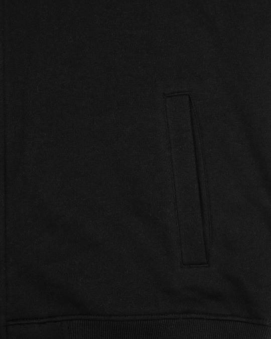Shop Black - White Sleeve Panel Zipper Hoodie