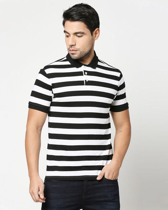 Shop Black & WhiteHalf Sleeve Stripes Polo-Back