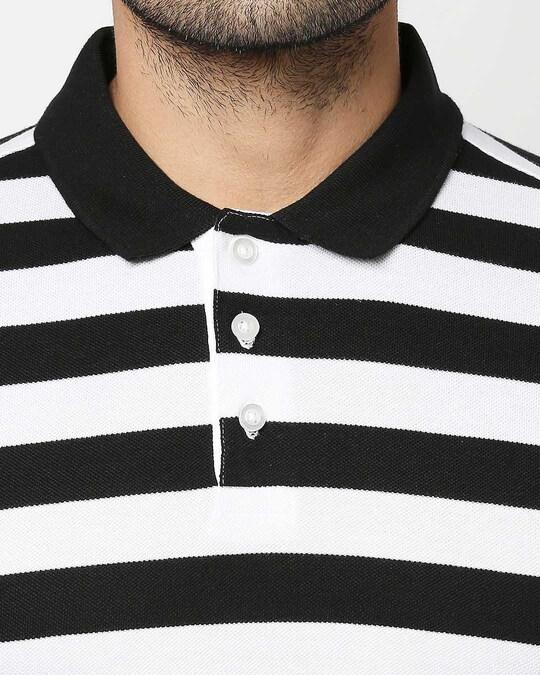 Shop Black & WhiteHalf Sleeve Stripes Polo