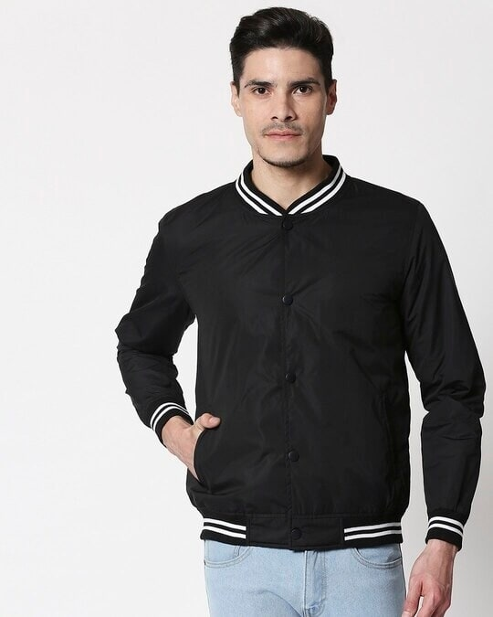 Shop Black Anti Varsity Bomber Jacket-Back
