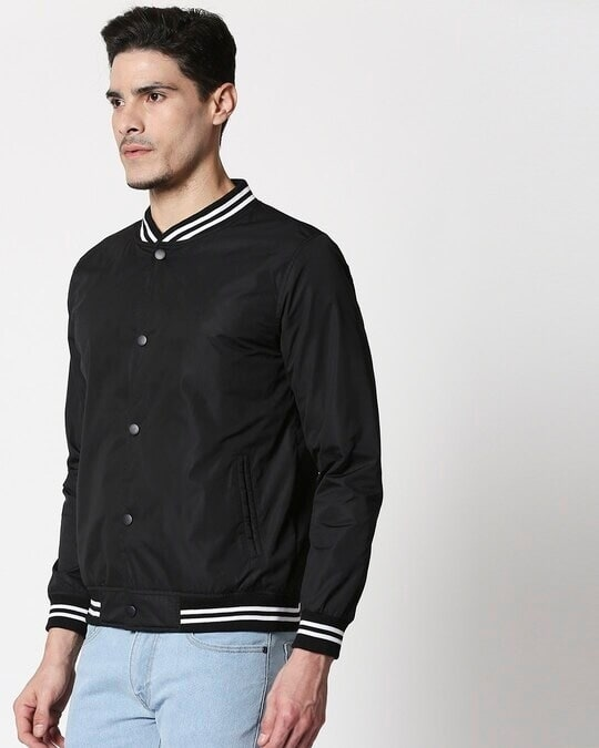 Shop Black Anti Varsity Bomber Jacket-Design