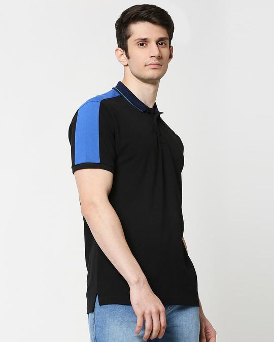 Shop Black Contrast Shoulder Cut & Sew Polo-Front