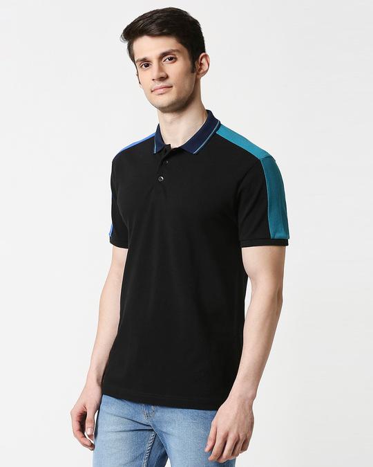 Shop Black Contrast Shoulder Cut & Sew Polo-Design