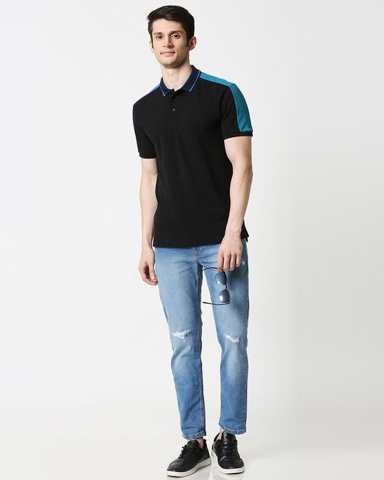 Shop Black Contrast Shoulder Cut & Sew Polo
