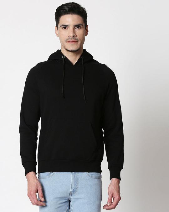Shop Black Basic Hoodie Sweatshirt-Back