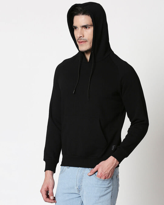 Shop Black Basic Hoodie Sweatshirt-Design