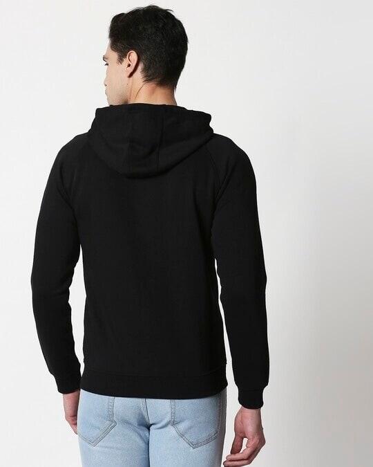 Shop Black Basic Zipper Hoodie-Full