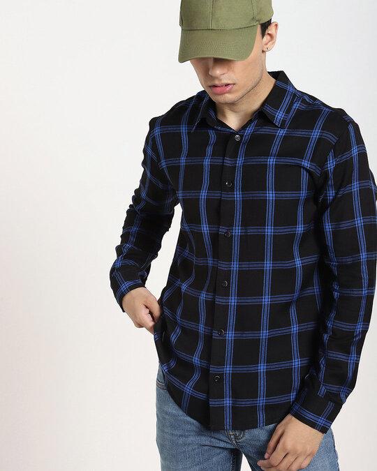 Shop Navy Blue Checks Casual Full Sleeve Shirt-Back