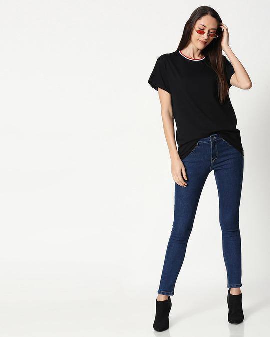 Shop Black Boyfriend Varsity Rib T-shirt