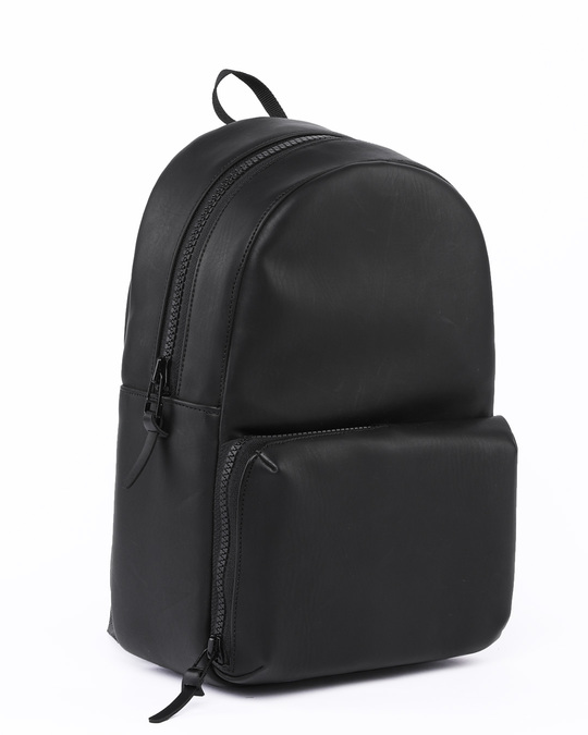 Shop Black Burnish Faux Leather Compact Backpack-Design