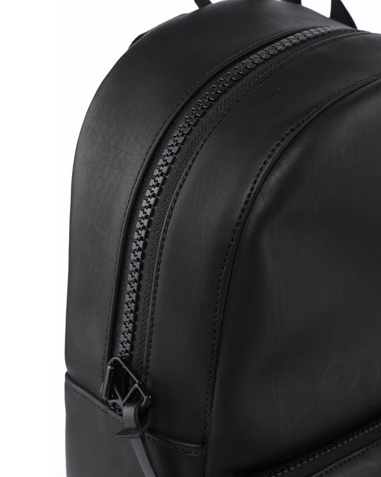 Shop Black Burnish Faux Leather Compact Backpack