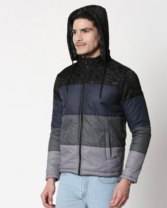 Shop Black Camo Four Block Puffer Jacket with Detachable Hood-Design
