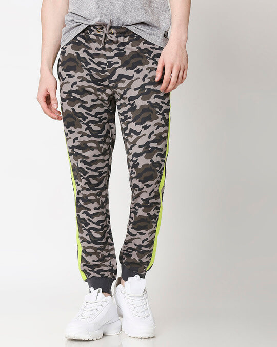 Shop Black Camo Neon Stripe Casual Jogger-Front