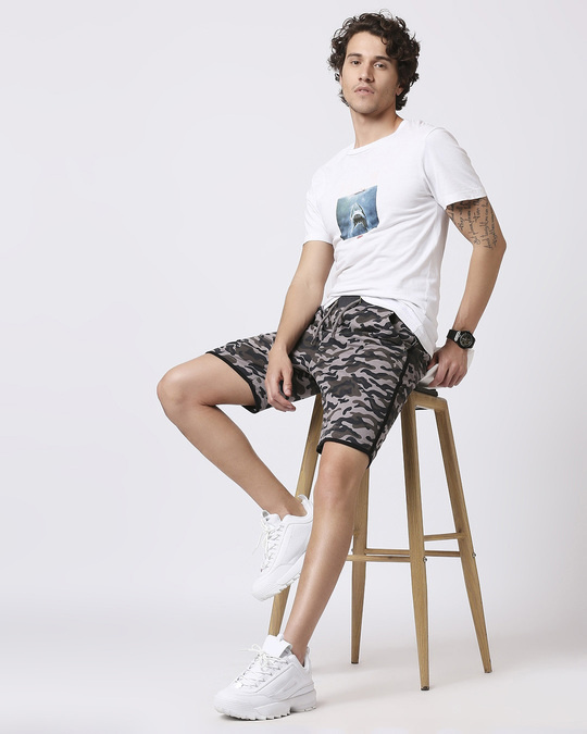 Shop Black Camo Side Stripe Camo Fleece Short-Full