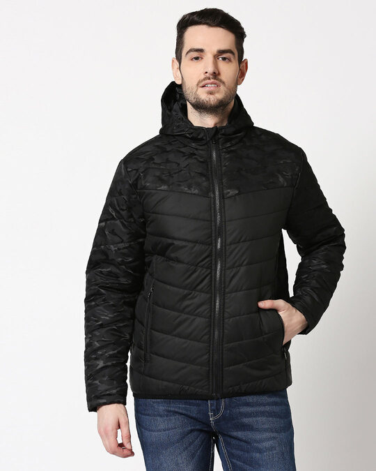 Shop Black Camo Two Block Puffer Jacket-Back