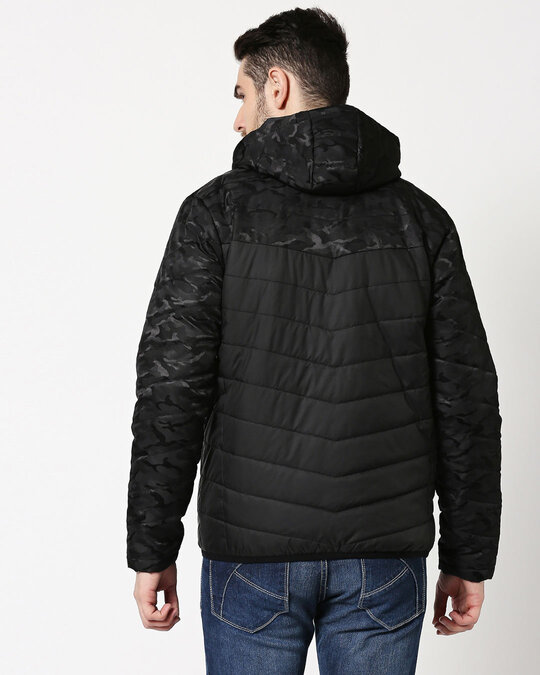 Shop Black Camo Two Block Puffer Jacket-Full