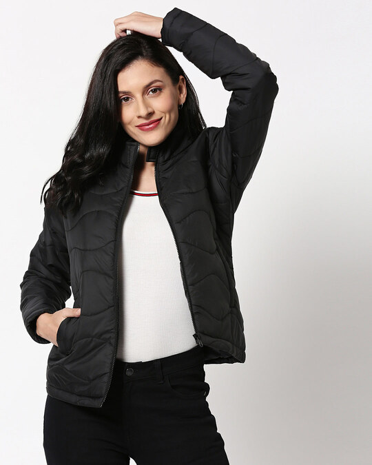 Shop Black Chill Block Puffer Jacket-Front