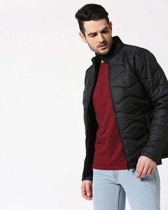 Shop Black Chill Block Wave Puffer Jacket-Design