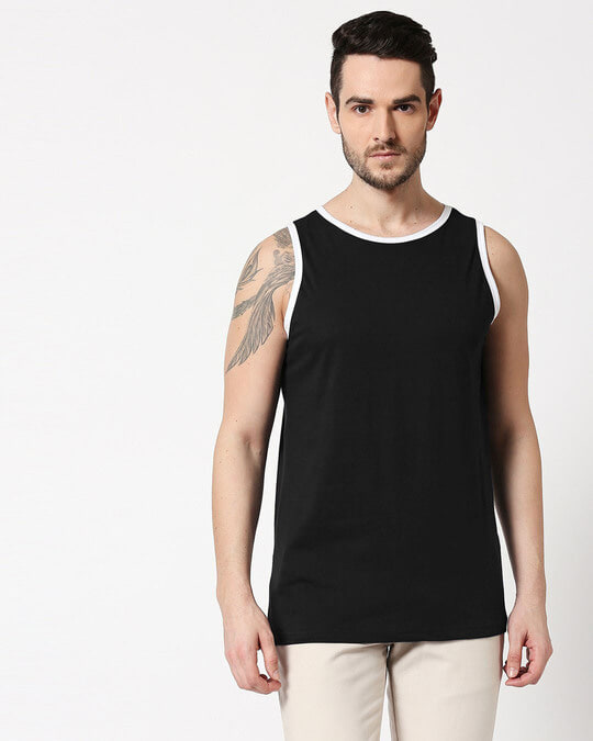 Shop Black Contrast Binding Round Neck Vest-Back