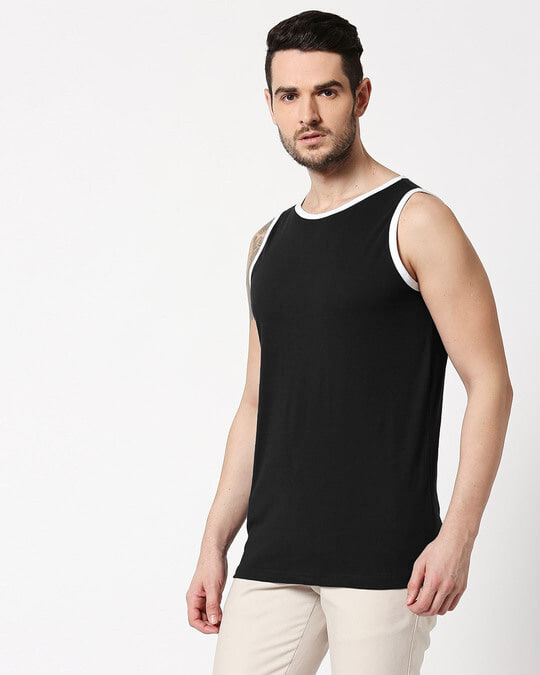 Shop Black Contrast Binding Round Neck Vest-Design