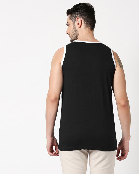 Shop Black Contrast Binding Round Neck Vest-Full