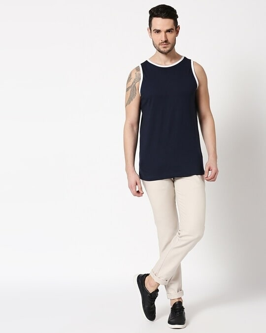 Shop Black Contrast Binding Round Neck Vest