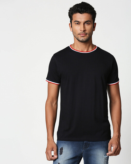 Shop Black Crewneck Varsity Rib Half Sleeves T-Shirt-Multicolor-Front