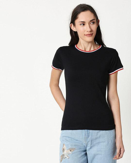 Shop Black Crewneck Varsity Rib Half Sleeves T-shirt-Front