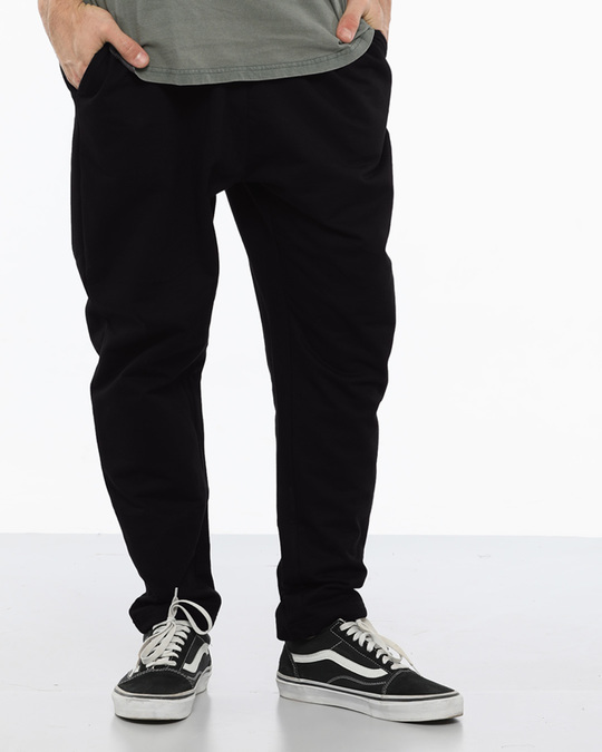 Shop Jet Black Drop Crotch Fleece Pants-Back