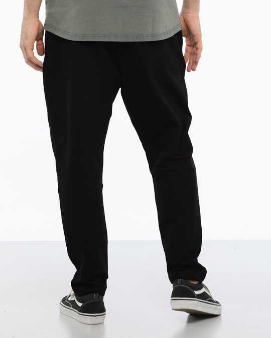 Shop Jet Black Drop Crotch Fleece Pants-Design