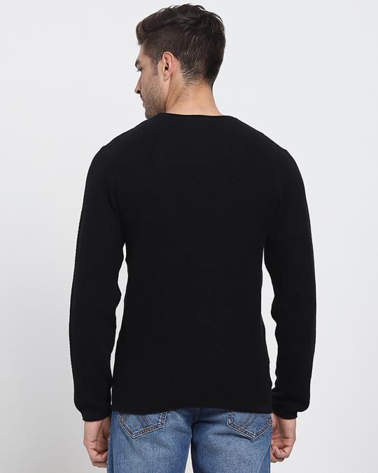 Shop Black Full Sleeve Flat Knit Sweater-Design