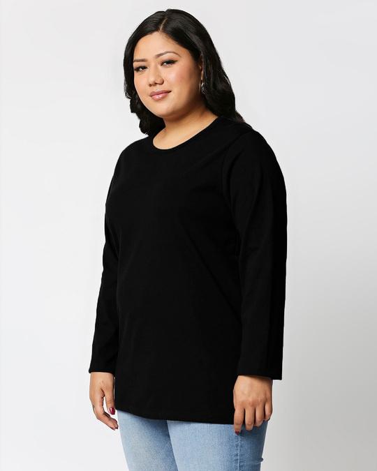 Shop Black Full Sleeve Plus Size T-Shirt-Back