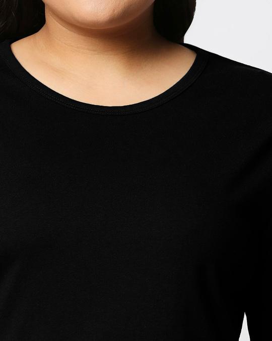 Shop Black Full Sleeve Plus Size T-Shirt