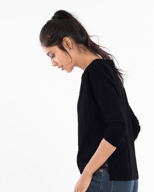 Shop Jet Black Full Sleeve T-Shirt-Back