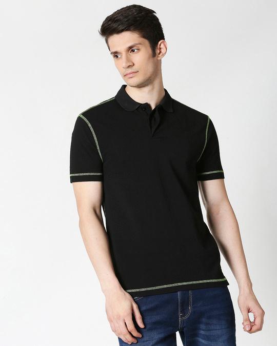Shop Black Half Sleeve Contrast Polo-Back