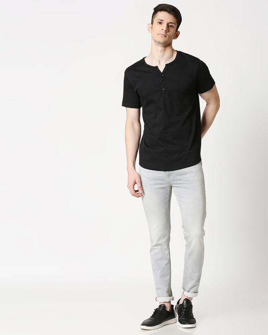 Shop Black Half Sleeve Henley T-Shirt-Full