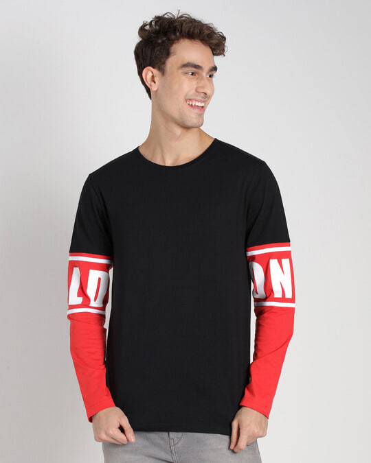 Shop Retro Red Full Sleeve Color Block T-Shirt-Back