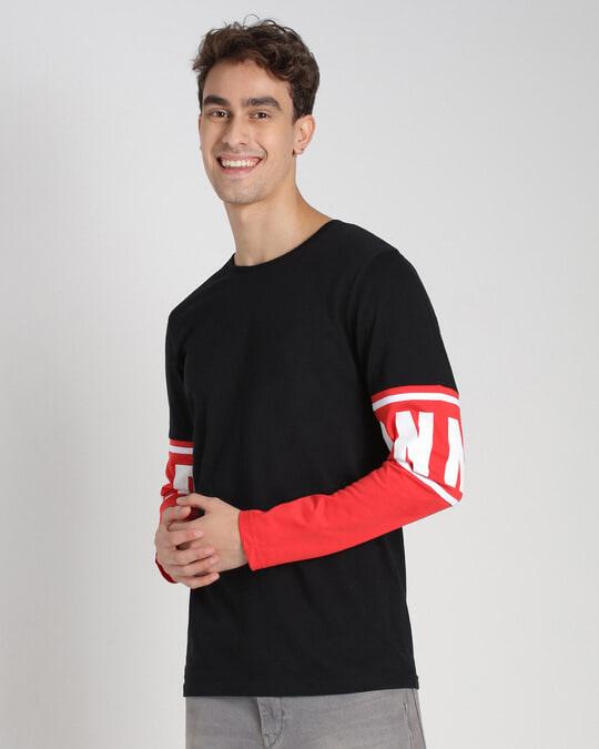 Shop Retro Red Full Sleeve Color Block T-Shirt-Design