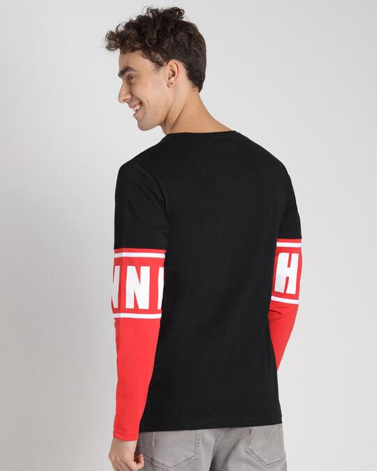 Shop Retro Red Full Sleeve Color Block T-Shirt-Full