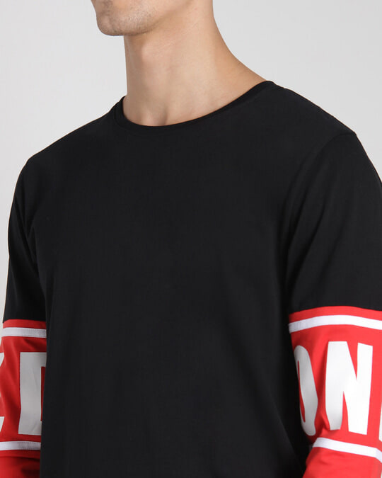 Shop Retro Red Full Sleeve Color Block T-Shirt