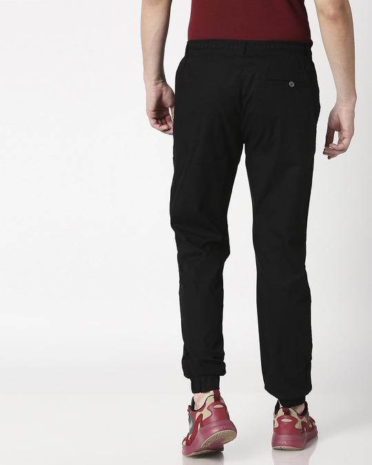 Shop Jet Black Cotton Jogger Pants