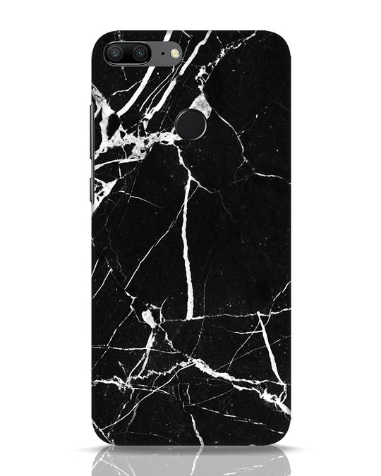 Shop Black Marble Huawei Honor 9 Lite Mobile Cover-Front