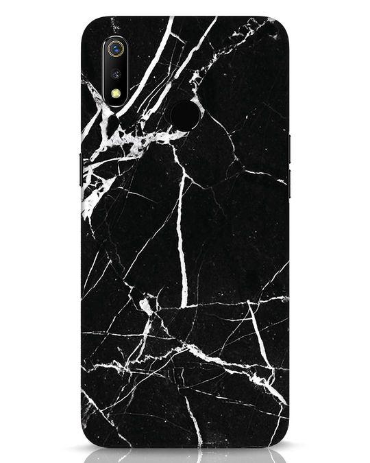 Shop Black Marble Realme 3 Mobile Cover-Front