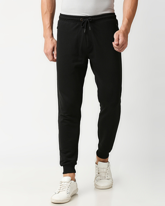 Shop Jet Black Casual Jogger Pants With Zipper-Front