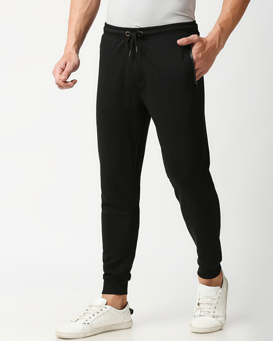 Shop Jet Black Casual Jogger Pants With Zipper-Back