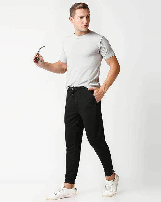 Shop Jet Black Casual Jogger Pants With Zipper-Full