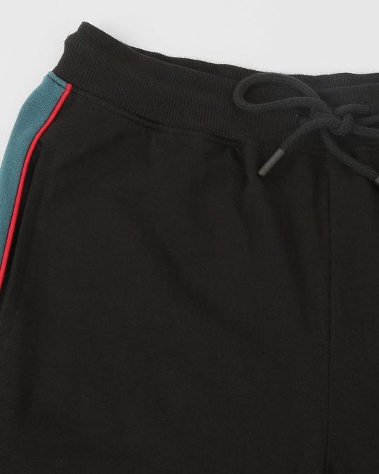 Shop Men Contrast Velcro Detailed Color Block Black Joggers