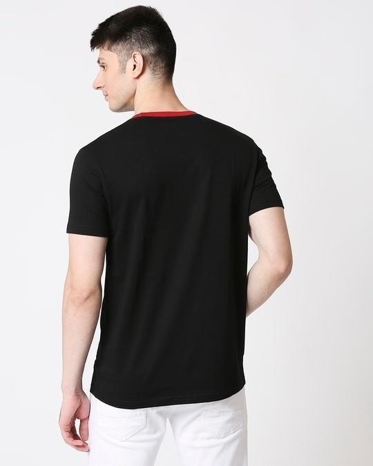 Shop Men Contrast Rib Printed Pocket Black T-shirt-Full